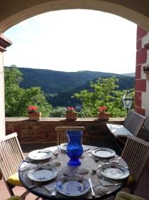 Ausblick vom Burgcafé ins Taubertal